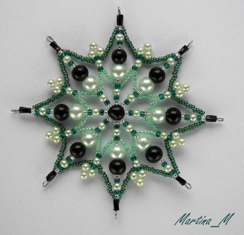 Новогодний декор своими руками: великолепные снежинки из бисера...