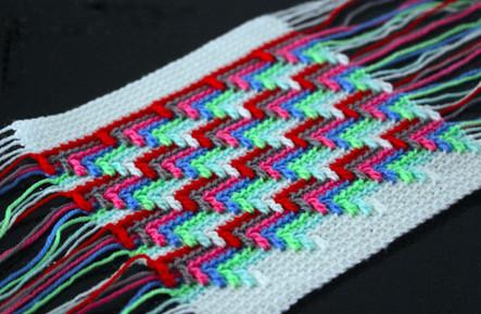 Барджелло — вышивка на сетке. Узор «Слезы апачи»: вязание крючком, имитирующее вышивку...