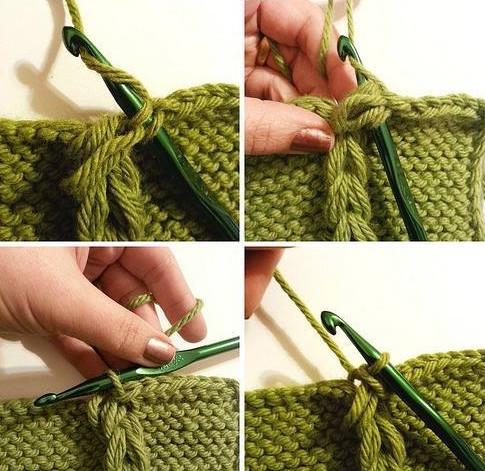 Интересная и необычная идея декора вязаного полотна...