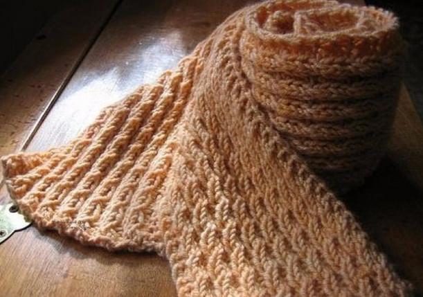 """Красивая и простая вязка узором """"колосок"""" для вязания шарфа - вяжется быстро..."""