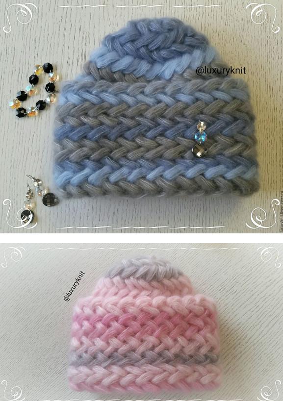 Теплая и уютная шапка крючком: узор колоски из пышных столбиков...