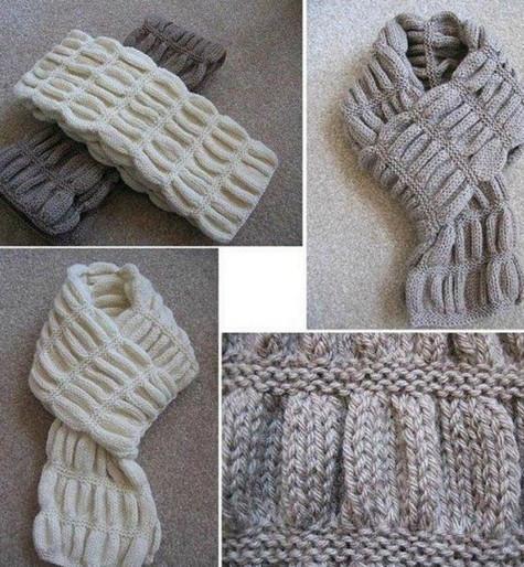 Вязаный спицами шарф гармошка...