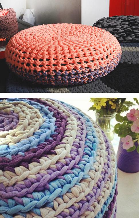 Необычные идеи для вязания из трикотажной пряжи...