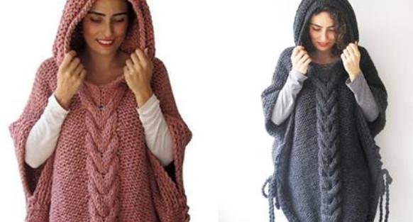 Стильное пончо с капюшоном — универсальная и уютная вязаная одежда...