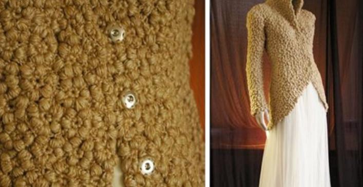 Стильный жакет с эффектом каракуля: цветочное вязание крючком...
