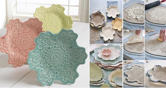 Потрясающая кружевная посуда за 6 простых шагов...