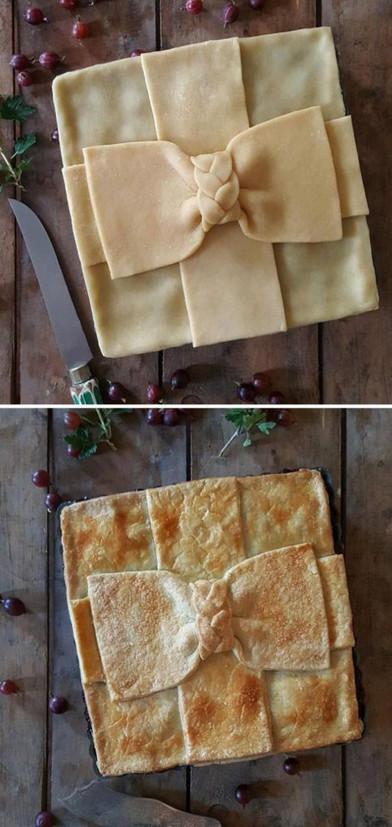 Замысловатые пироги до и после выпекания, которые слишком красивы, чтобы их съесть.