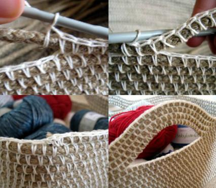 С помощью верёвки и пряжи вы можете связать крючком потрясающую вещицу...