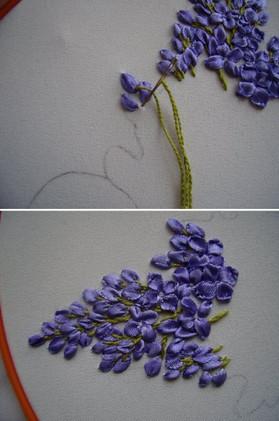 Вышивка лентами позволяет создать работы невероятной красоты...