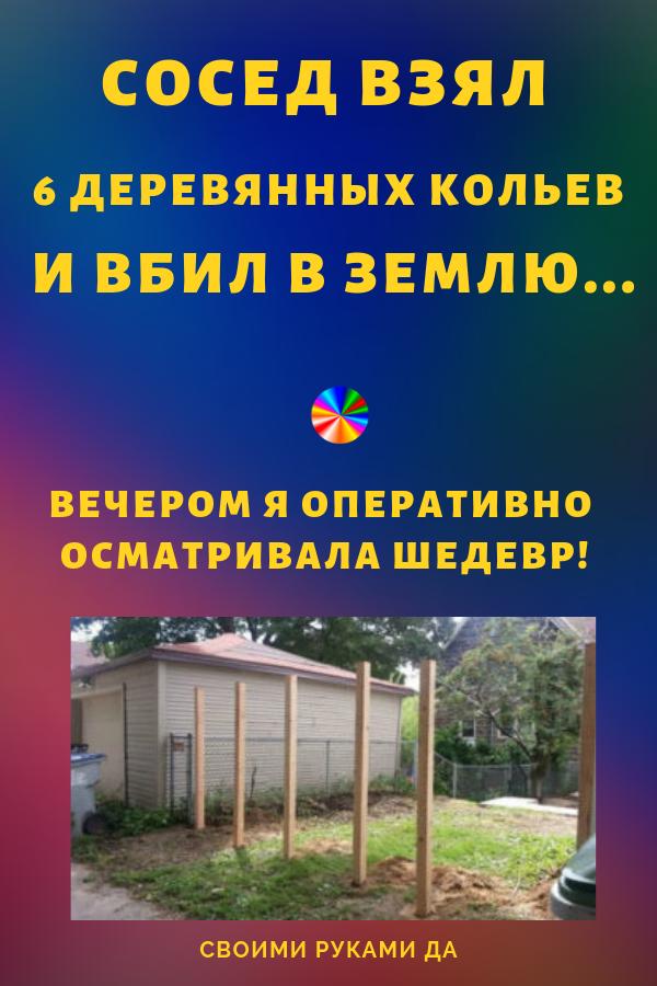 Сосед взял 6 деревянных кольев и вбил в землю своими руками… Вечером я оперативно осматривала шедевр!