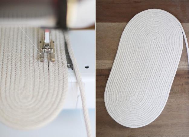 Мастерица сшила бельевую веревку цветными нитками, чтобы сделать практичную и красивую сумку...