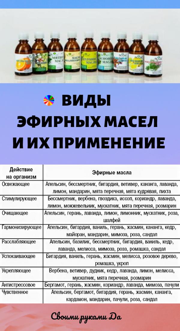 Виды эфирных масел и их применение