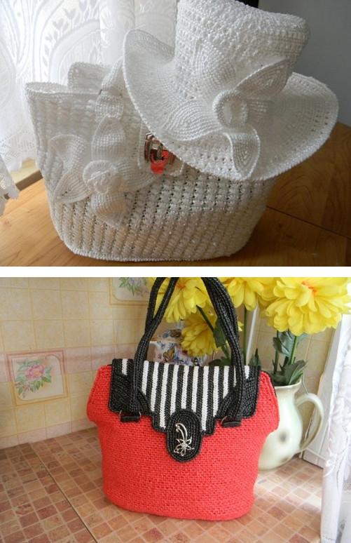 Шикарные сумки из пакетов...