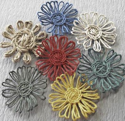 Создаём легко и просто цветы из пряжи и бечёвки, которые не распускаются...