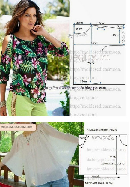 Блузки, топы, майки - большая подборка, шитье и крой...