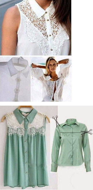 Возьмите совсем немного кружева, чтобы потрясающе обновить старую одежду...