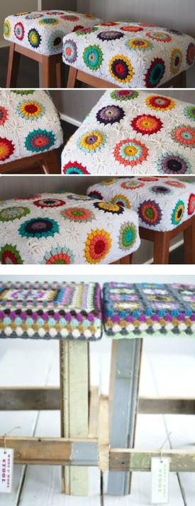 Оригинальное использование вязания в интерьере....