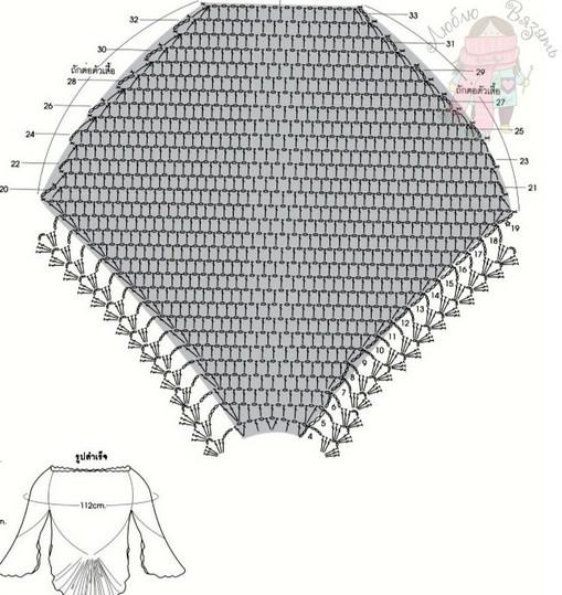 Вязаный крючком пуловер с ажурной баской. Схема...
