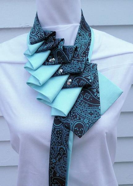 Элегантный воротник из мужского галстука — для самого нежного образа