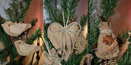 Замечательные идеи: новогодние вещицы из джута и мешковины