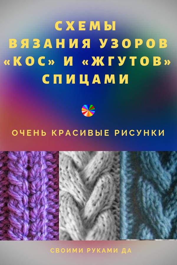 Схемы вязания узоров «кос» и «жгутов» спицами