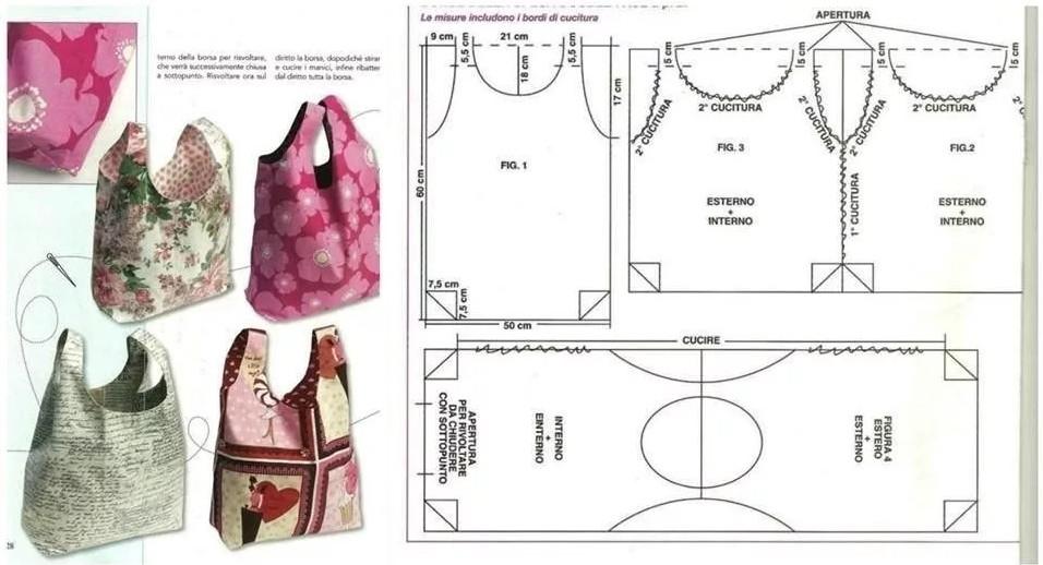 Сумки из ткани + выкройки своими руками