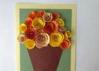 Подарок маме на 8 марта. Как сделать легкую открытку.