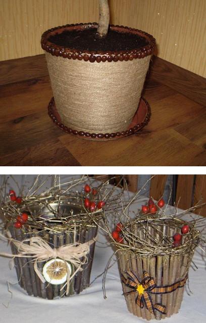 17 интересных идей по оформлению цветочных горшков своими руками... Простые варианты украсить горшки!