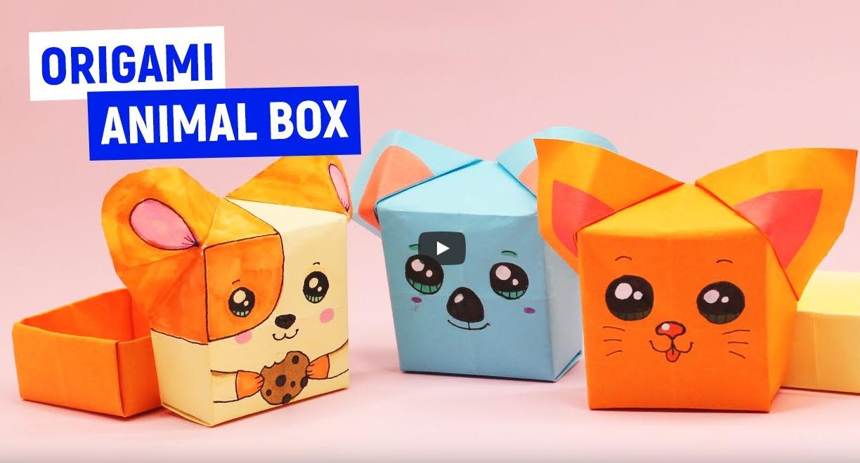 Оригами Коробочки Котенок, Хомячок и Коала из бумаги