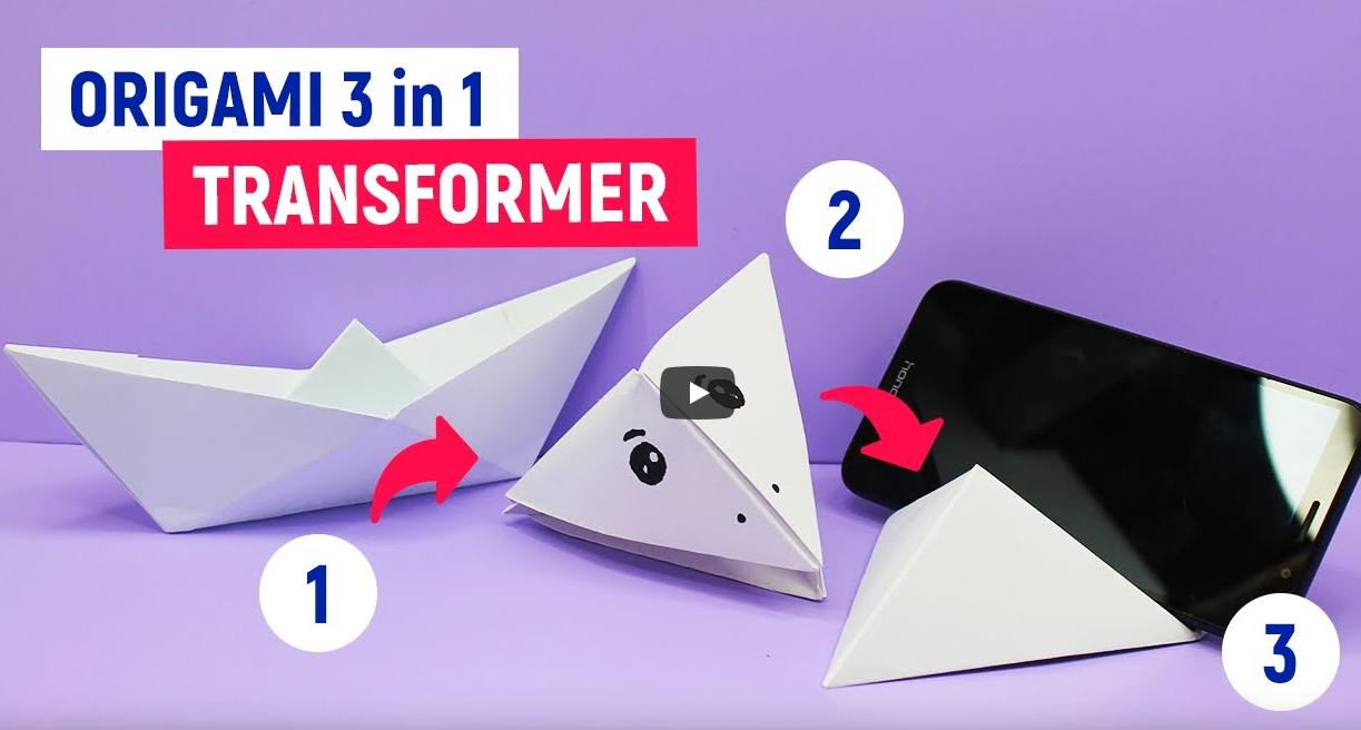 3 в 1 Оригами Трансформер из бумаги А4 | Как сделать лодку, подставку для телефона и клюв вороны