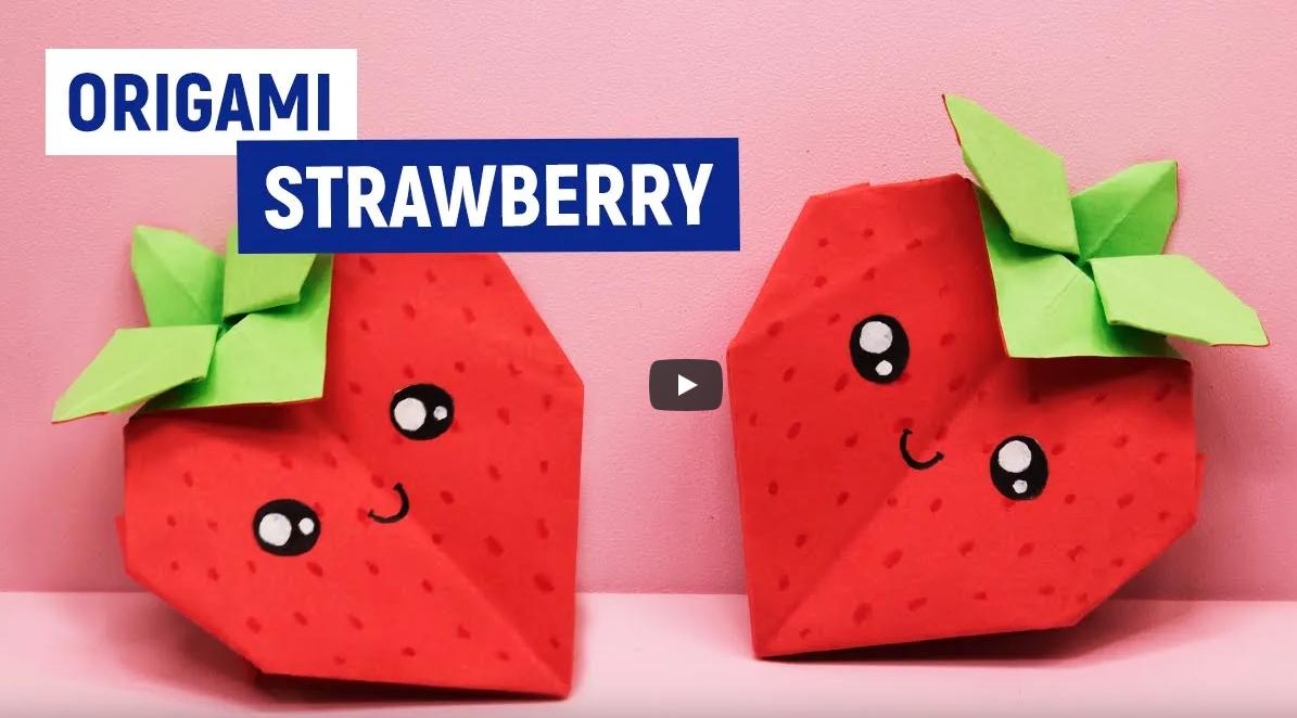 Как сделать оригами клубнику из бумаги