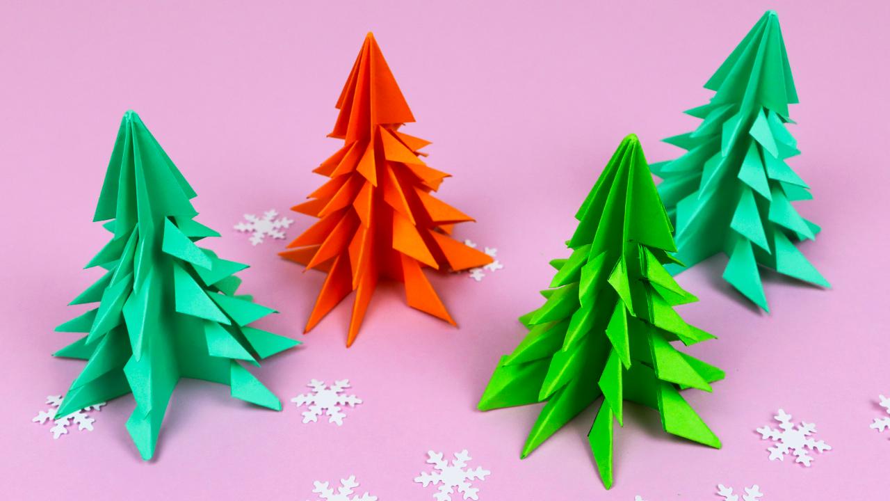 Очень красивая оригами ёлочка из бумаги