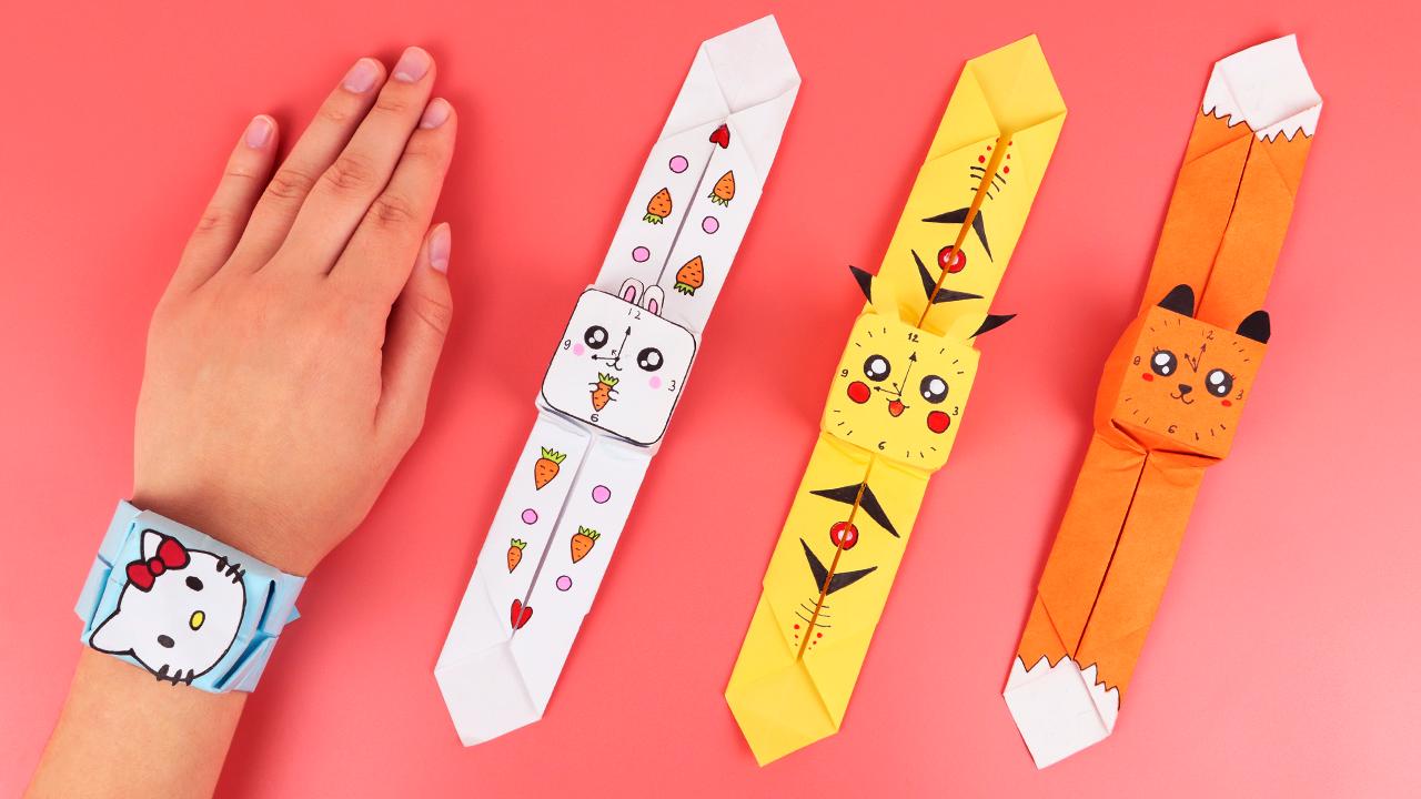 Часы из бумаги / Оригами для начинающих / Как сделать браслет из бумаги своими руками