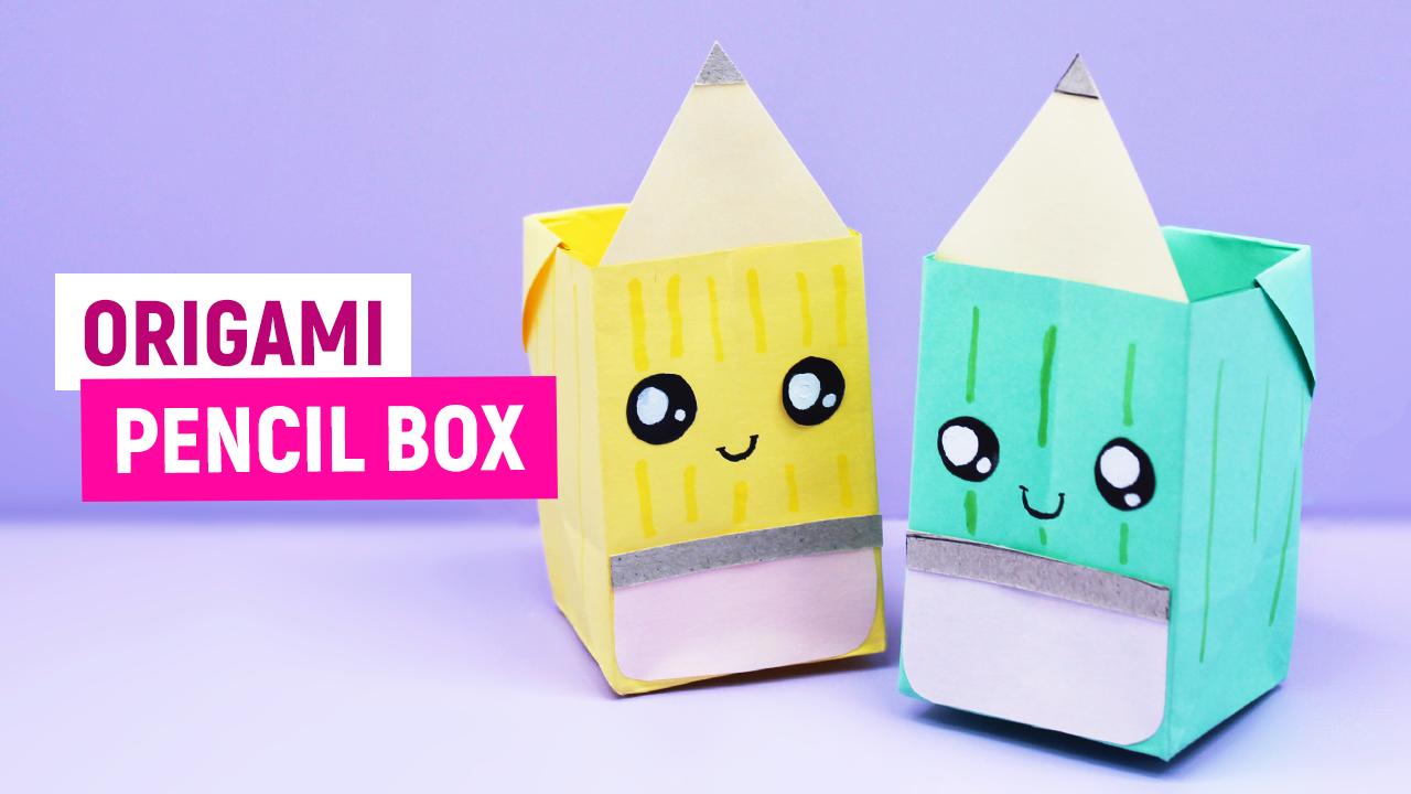 Оригами ПОДСТАВКА КОРОБОЧКА для Карандашей из бумаги / Оригами для начинающих/ Как сделать из бумаги