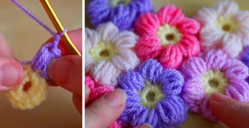 Посмотри, как связать крючком простой и красивый цветочный узор! Очаровательно