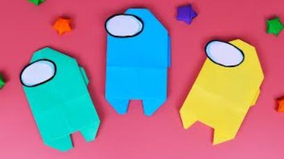 Оригами AMONG US из бумаги БЕЗ КЛЕЯ / Закладка для книги / DIY Origami Paper AMONG US without glue